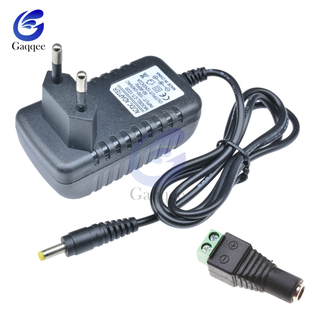 EU US Plug Driver Adapter AC <font><b>110V</b></font> 220V to DC <font><b>12V</b></font> 2A 5V 1A 5.5*2.1mm LED <font><b>Power</b></font> <font><b>Supply</b></font> + Female Connector For LED Strip Converter image