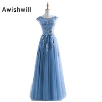 Real Picture 2018 Long Formal Gowns Vestido Longo Cap Sleeve Appliques Beaded Tulle Cheap Prom Dresses
