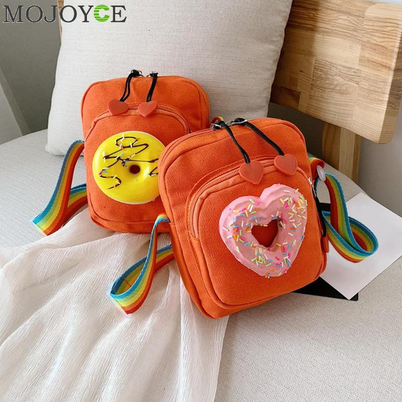Girls Handbag Kids Bag Messenger Shoulder Bag Creative Food Decor Girls Kids Shoulder Messenger Rainbow Canvas Bags(China)