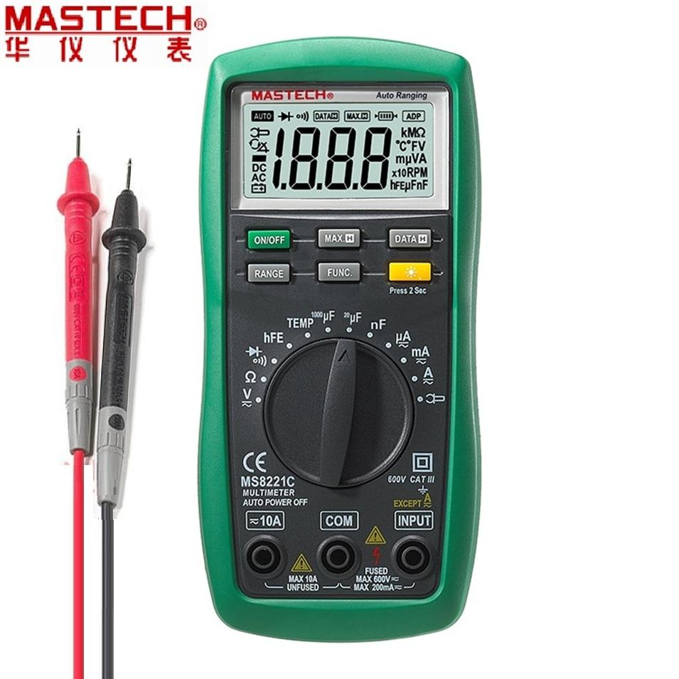 Mastech MS8221C Autorange Multimetro Digitale AC/DC Tensione Corrente DMM Temperatura Capacità hFE Tecrep Tester Diagnostico-strumento
