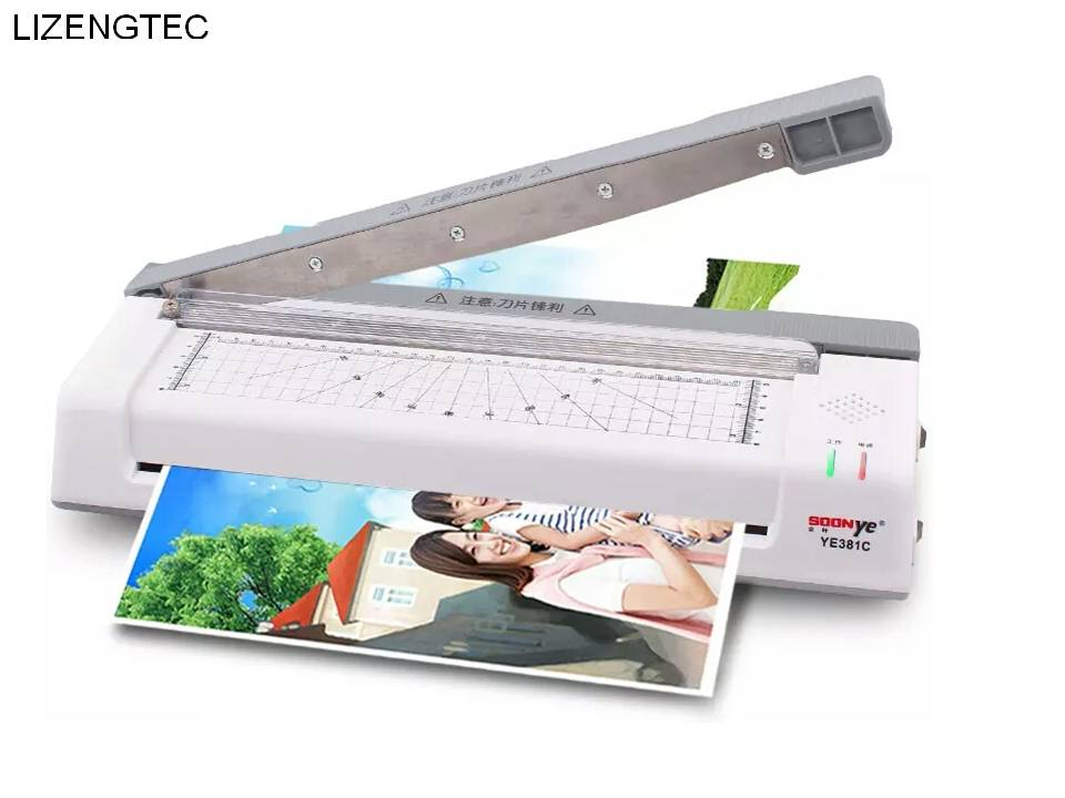 LIZENGTEC New Design Multi functiHot Cold with Paper Trimmer Corner Rounder Roll Laminator Machine for A3