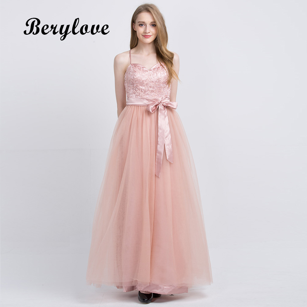 BeryLove Long Champagne Prom Dresses 2018 Beaded Lace Prom Dress ...