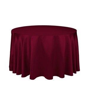 """Image 1 - 10 sztuk burgundii 90 """"okrągłe eleganckie satynowe obrusy dekoracja stołu na wesele bankiet darmowa wysyłka"""