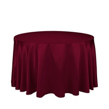 "10Pcs Burgundy 90"" Round Elegant Satin Tablecloths Table Decoration For Wedding Party Banquet Free Shipping"