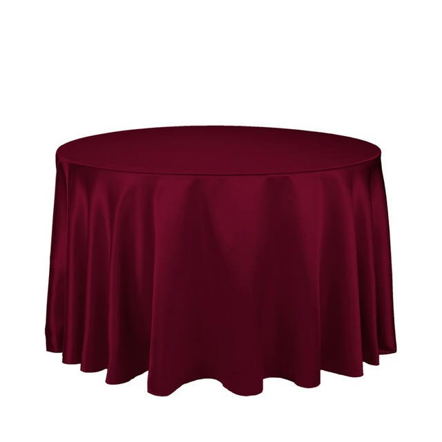 """10Pcs Burgundy 90"""" Round Elegant Satin Tablecloths Table Decoration For Wedding Party Banquet Free Shipping"""