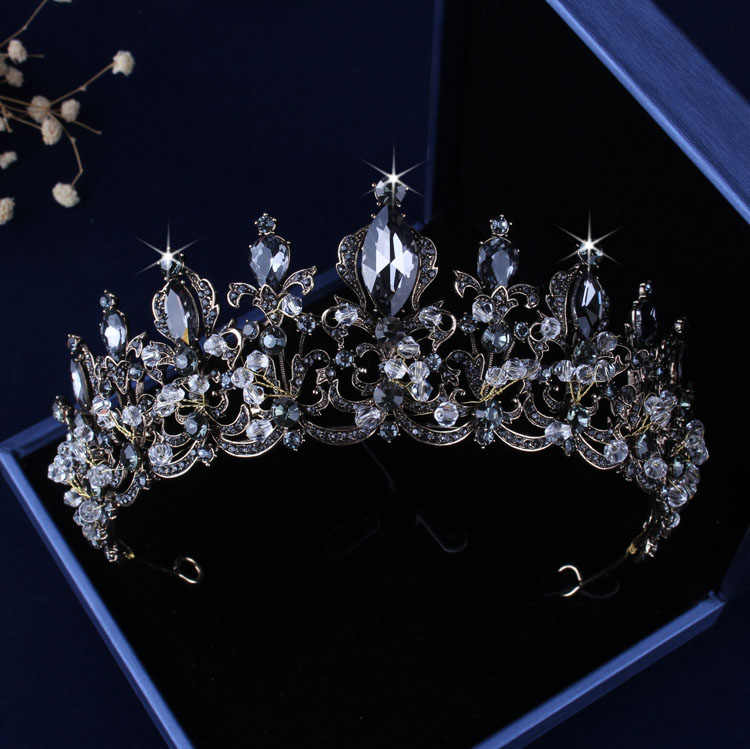 Barokke Vintage Black Crystal Tiara Kronen Ketting Oorbellen Set Faux Parel Bruids Sieraden Sets Voor Vrouwen Bruiloft Accessoires