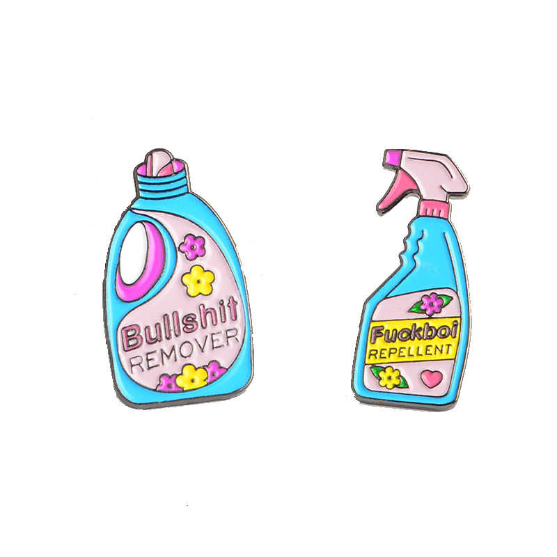 Cartoon Pins and brooches Bullshit remover repellent funny cleaning denim bag Badge Enamel pins Brooch Lapel pins