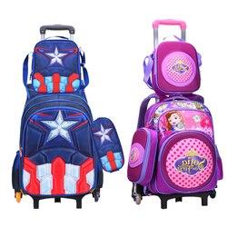 Wenjie brother/комплект из 3 предметов, детские школьные сумки с колесиками, багаж для мальчиков и девочек, рюкзак Mochila Infantil Bolsas