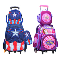 wenjie brother 3pcs/set Children Kids school bags With Wheel Trolley Luggage For boys Girls backpack Mochila Infantil Bolsas