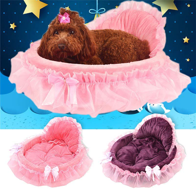 Princess Dog Bed Soft Sofa For Small Dogs Pink Lace Puppy