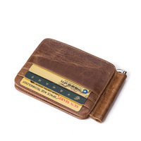 Leather Genuine MINI Money Clips For Men Vintage Slim Design Credit Card Clip Wallet Real Leather