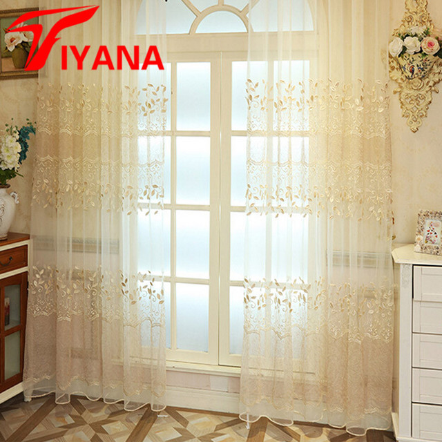 Factory Price European Luxury Embroidered Leaves Design Curtains Living Room  Tulle Bedroom Marriage Room Voile Curtain