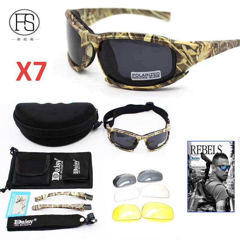 Prix pour Camouflage Daisy X7 C5 Vélo lunettes de Soleil Polarisées Hommes Tactique Militaire Sport En Plein Air Lunettes Randonnée Lunettes UV400 Protection