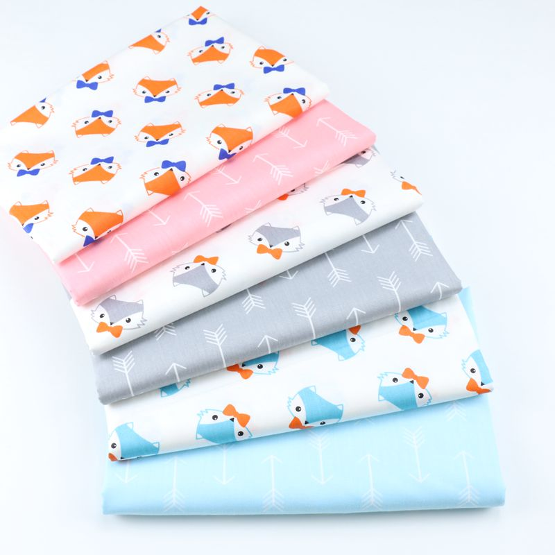 160cm*50cm cotton fabric cartoon cute Bow Arrow Fox fabric DIY bedding apparel dress patchwork fabric kids handwork cloth