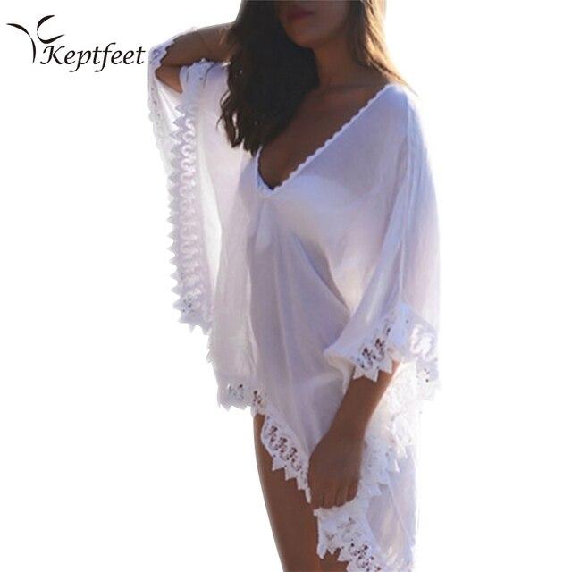 d536a2543 Chiffon Cover-up Beach Wear Beachwear Summer Kaftan Swimwear Dress White  Bikini Swinwear Bathing Suit