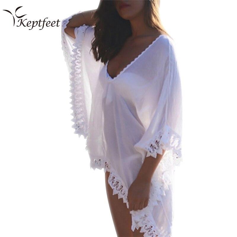Mousseline de soie couverture Plage vêtements de Plage été caftan maillots de bain robe blanc Bikini Swinwear maillot de bain couvrir Plage
