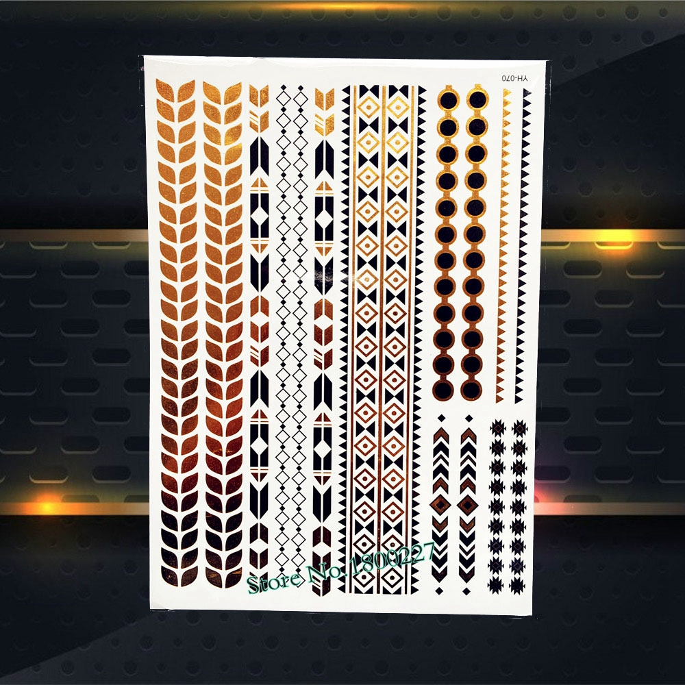 Fashion Gold Black Metallic Tattoo Leaf Bracelet Grid Chains Design Waterproof Arm Leg Makeup Temporary Tattooo Stickers PYH-070
