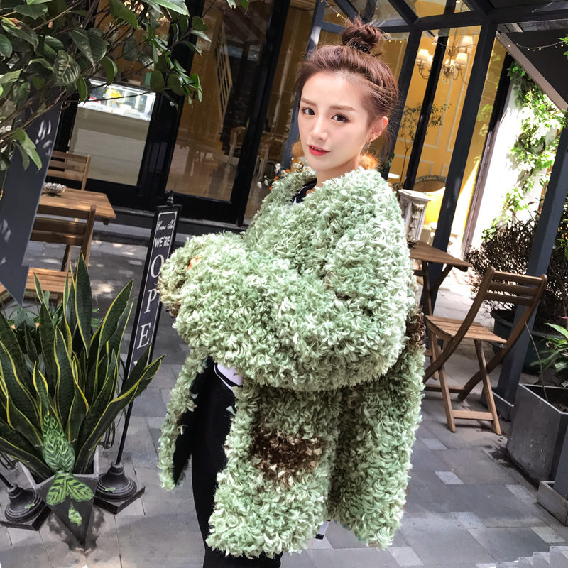 Female Winter New O-Neck Green Faux Fur Coat Ladies Fashion Fluffy Long Sleeve Parka Oversize Loose Single Breasted Jacket Z425