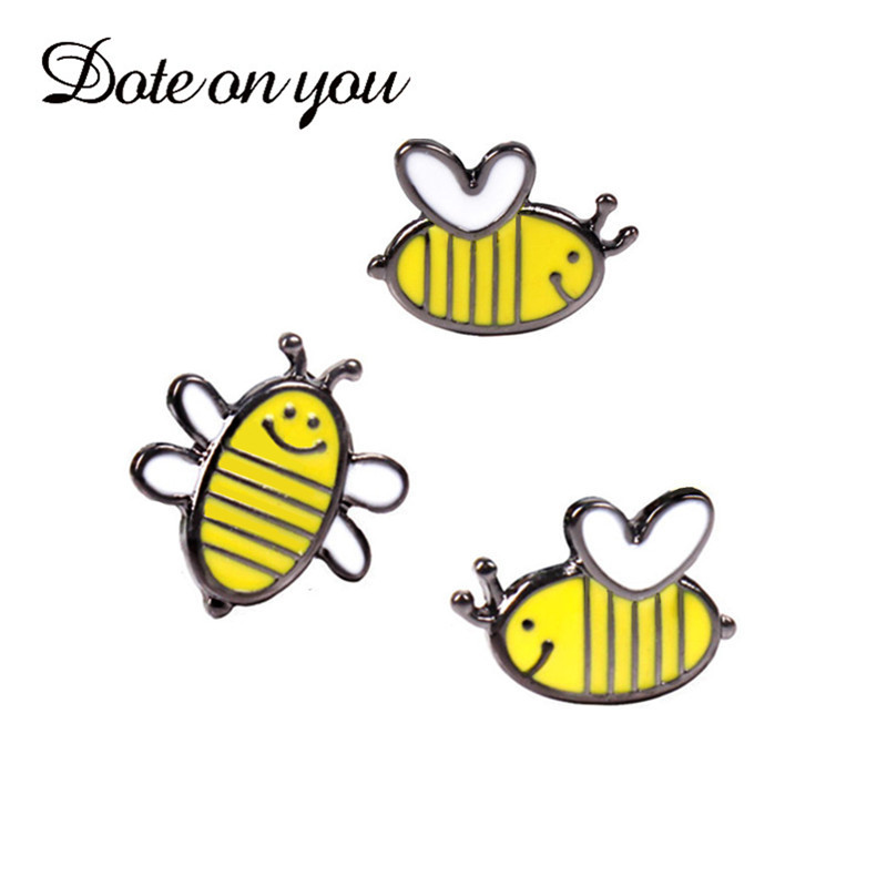 2017 New Lovely jewelry Gold/Silver Color bee shape unisexs pin brooch for gift Christmas wholesale