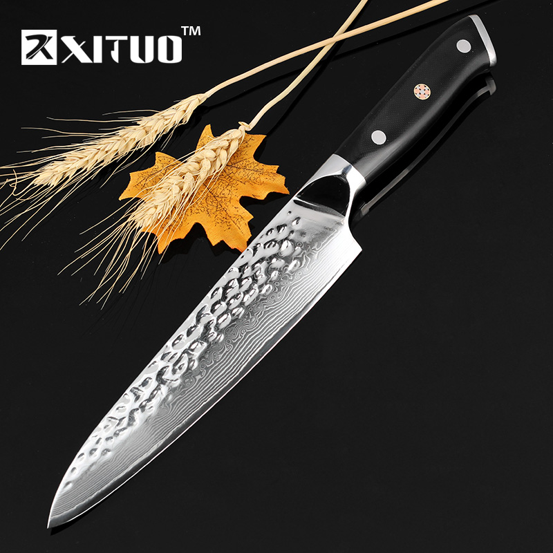 XITUO Damascus Steel Chef Knife 67 Layers Japanese VG 10 Damascus Steel Kitchen Knife 8 Inch Handmade Santoku Cleaver Tool Gif
