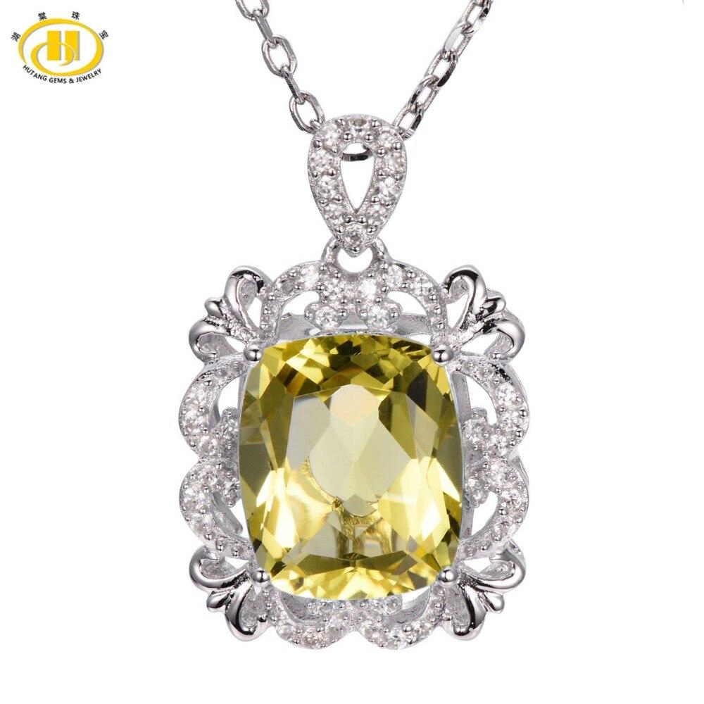 Hutang Vintange 5.55ct Natural Lemon Quartz Solid 925 Sterling Silver Pendant Necklace Gemstone Women