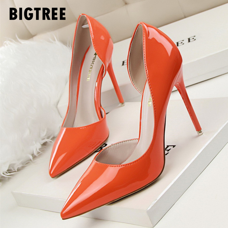 0441231e6e New 2019 Women pumps Elegant pointed toe patent leather office lady Shoes  Spring Summer High heels Wedding Bridal Shoes woman - ShopNice