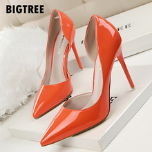 New 2019 Women pumps Elegant pointed toe patent leather office lady Shoes Spring Summer High heels Wedding Bridal Shoes woman