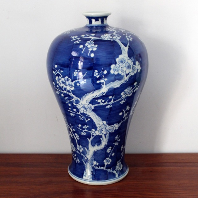 Chinese Antique Qing Kangxi Reproduction Hand Painted Plum Ceramic