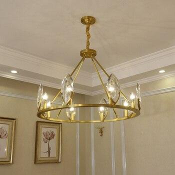 Moderne lumière luxe cristal cuivre lustre américain salon éclairage moderne minimaliste chambre Jane restaurant américain