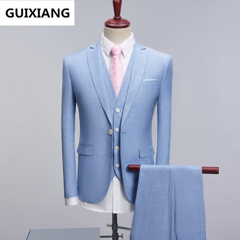 2017 Pantalon Mode Gilet Ciel Costume Laine Affaires pu veste De Slim Costumes Style menthe Bleu Fit Hommes Mariage Xf069 Nouveau EqSw5