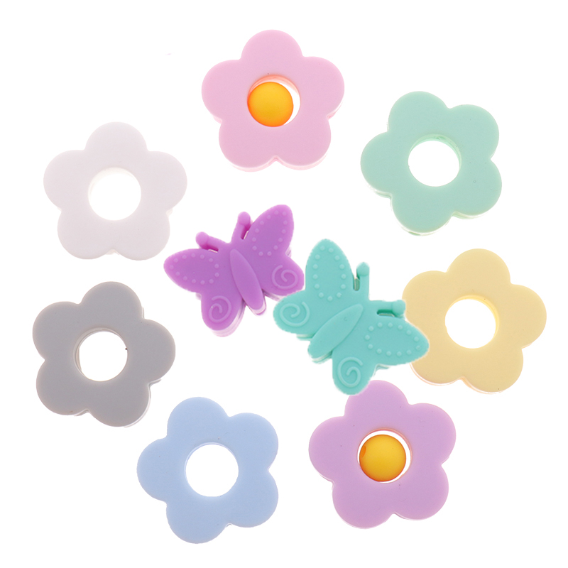 10pc Baby Chewable Silicone Beads Flower DIY Baby Teething Beads Butterfly Necklace BPA Free DIY Pacifier Holder Accessories