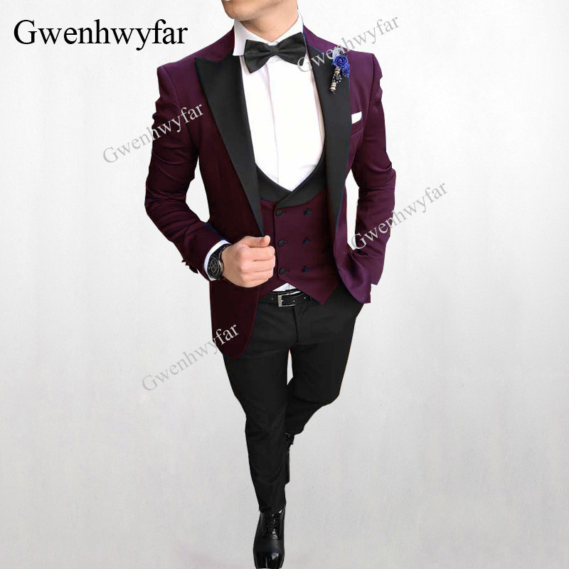 Erkek Kıyafeti'ten T. Elbise'de Gwenhwyfar Kostüm Homme Mariage 2018 Takım Elbise Blazer Erkek Düğün Takımları 11 Renkler Terzi Custom made Moda Erkek Takım Elbise 3 Adet'da  Grup 1