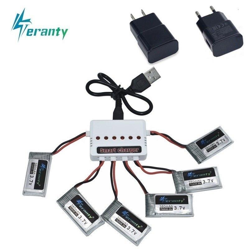 3.7V 400mah Da Bateria e 6-Port Carregador Para SYMA X15 X5A-1 X15C X15W H31 X4 H107 KY101 e33C E33 U816A V252 H6C RC Peças De Reposição