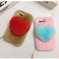 For Iphone 6 6s 7 8 Plus X Fashion Cute Girl Luxury Heart Rabbit Fur Furry