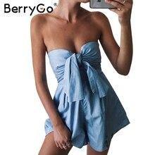 Berrygo лук Ruched Топ комбинезон Женская Повседневная Высокая Талия Короткие Комбинезоны Лето Chic, синий комбинезон купальник