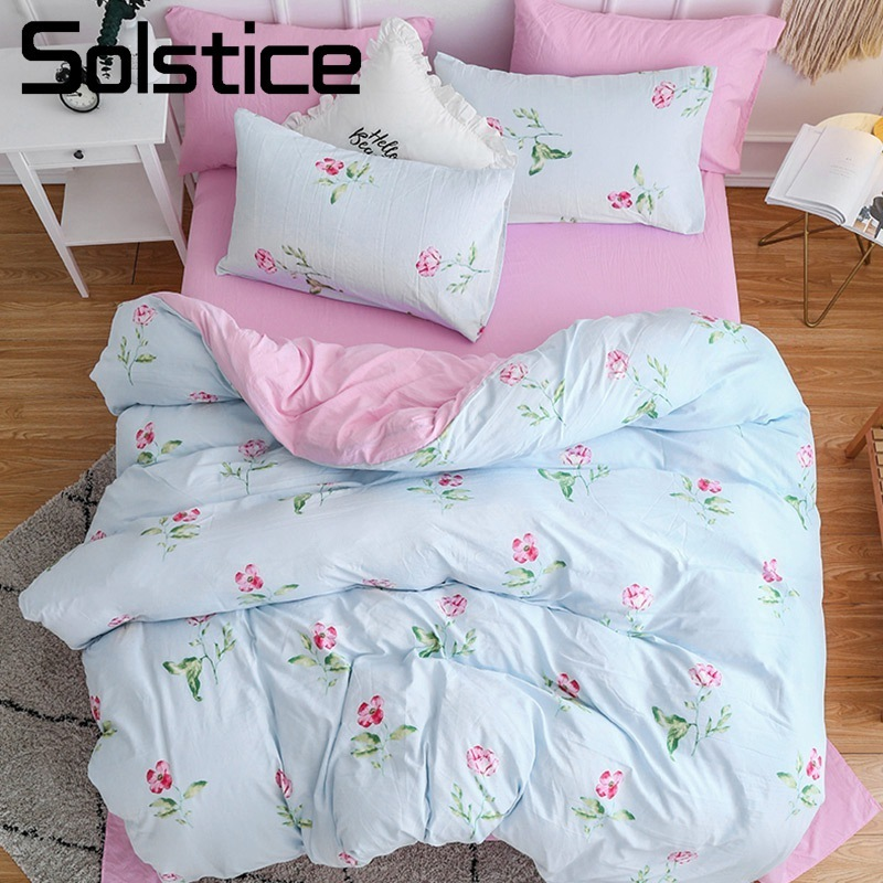 Solstice Home Textile Girl Kid Teen Bedding Sets Pink Flower Romantic Linens Woman Adult Duvet Cover Pillowcase Bed Sheet 3/4Pcs