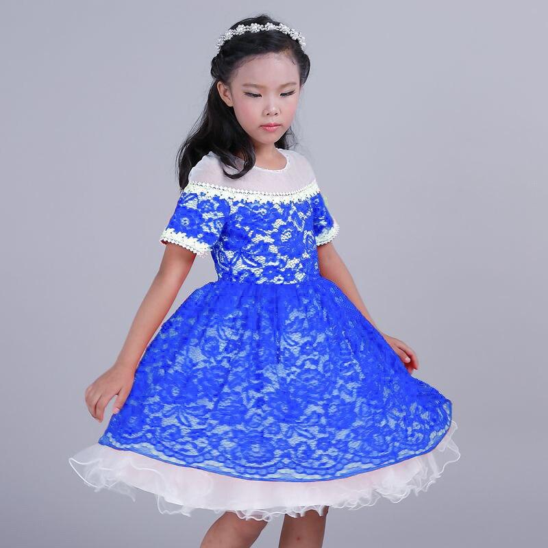 5 PCS Girls Fashion Blue Lace Patchwork Polyester Mesh Princess Dress Girls Ball Gown Wedding Dress Korean Euro American Dresses