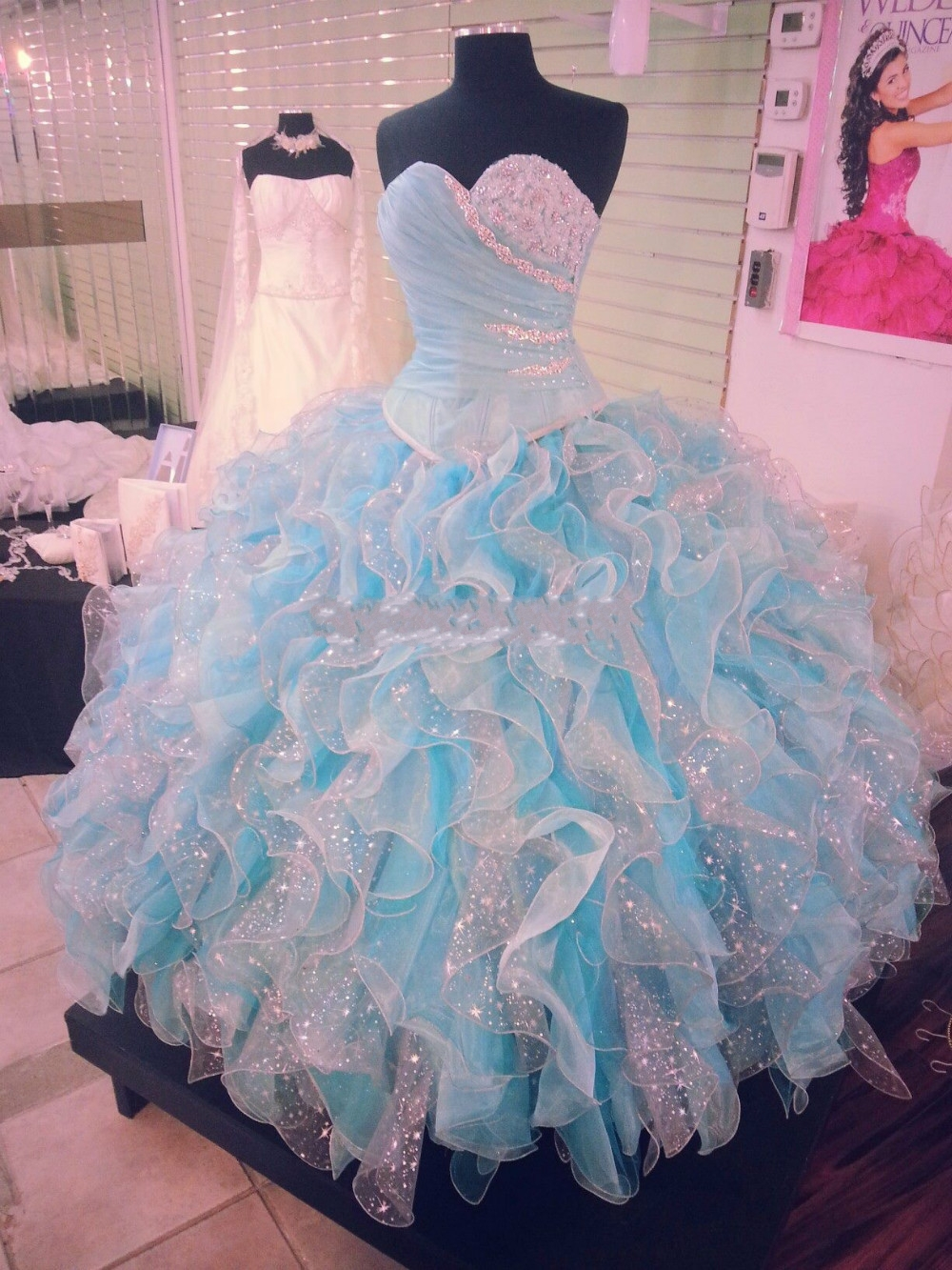 Popular White and Light Blue Quinceanera Dresses-Buy Cheap White ...