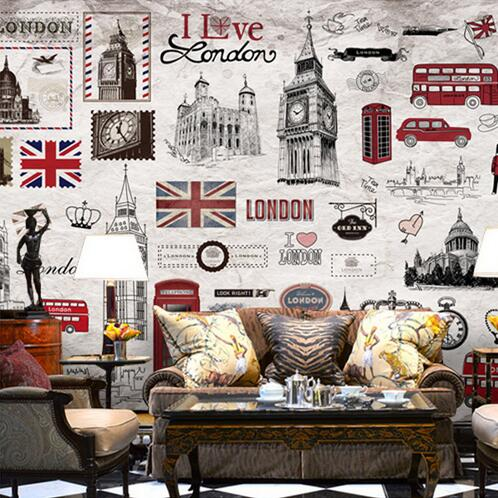 European Retro London Wall Mural 3D Poster Murals Wallpaper for