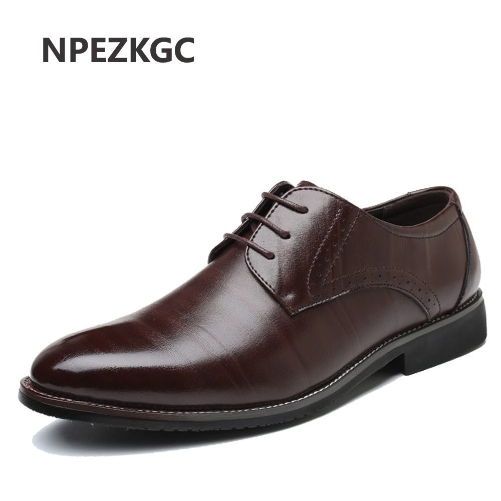 NPEZKGC Men Leather Dress Shoes Business Formal Men Office Lace-up Oxford Shoes Form Men Plus Size 38-48 plus size 37 44 men leather dress shoes pointed toe business formal men office shoes lace up black brown oxford shoes yj b0018