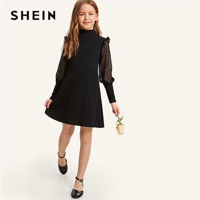 SHEIN Kiddie/элегантное платье для девочек, черный воротник-стойка, Замочная скважина на спине, на пуговицах 2019 г. летние праздничные платья с оборками и рукавами