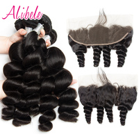 Alibele Peruvian Loose Wave 3 Bundles With Frontal Closure Remy Human Hair Weave Extension Pre Plucked Lace Frontal With Bundles