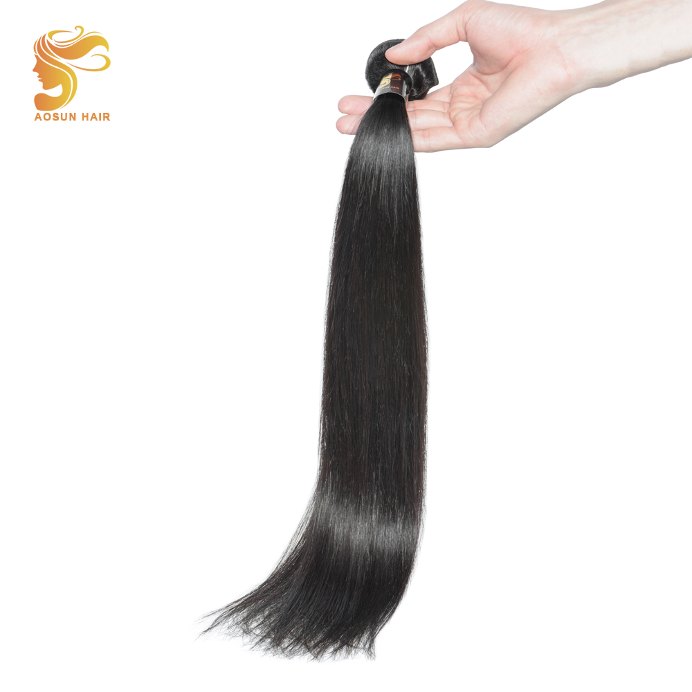 AOSUN Peruvian Straight Hair Bundles Remy Human Hair Bundles 100% Unprocessed Natural Color 8-28 True To Lengths Fast Shipping ...