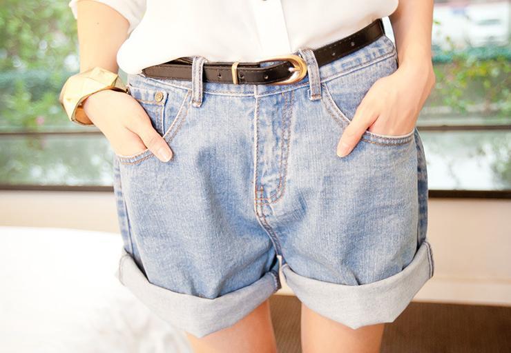 AQ54 Leisure Loose Jean Shorts Womens Casual Denim Shorts High Waist Shorts Women Summer HotPants Шорты