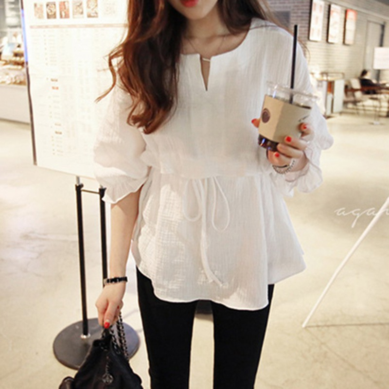 2018 Spring Models Korean Version Of The Seven-point Sleeves Cotton And Linen Round Neck Tie Shirt Female Ruffled Shirt Shirt