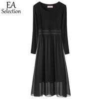 EA Selection Spring Autumn O Neck Casual Midi Dress Long Sleeve Solid Color Black Top Floral