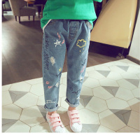 BuDiongXiong 2017 Autumn Fashion Ripped Kids Jeans Graffiti Letters Girls Pants Long Trousers Jeans For Girls