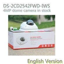 На складе бесплатная доставка английская версия DS-2CD2542FWD-IWS Аудио 4MP WDR Купольная Сетевая Камера с WI-FI