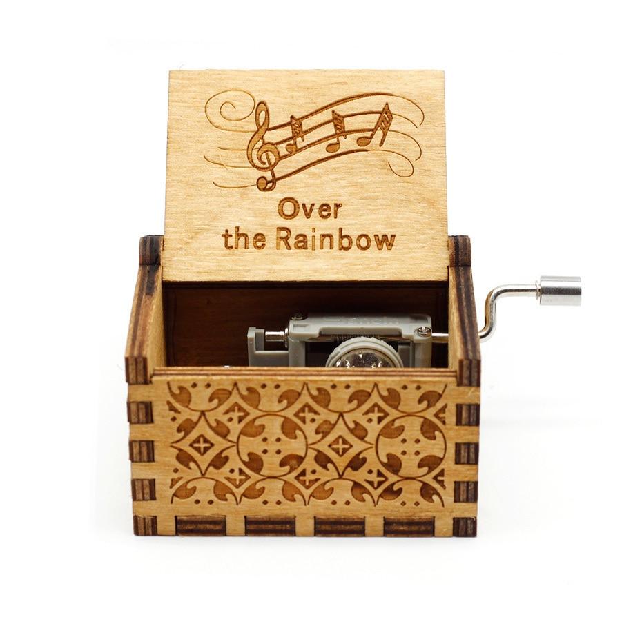 Деревянная музыкальная шкатулка с коленчатым коленом Красавица и Чудовище Звездные войны остров принцесса для Рождества с днем рождения подарок детям подарок - Цвет: RainBow