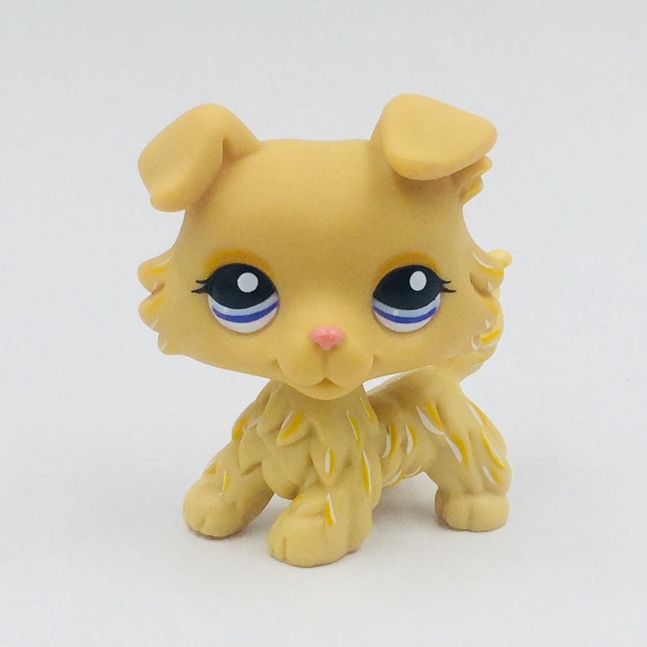 Real Original Action Figure Toy Rare Animal Pet Shop Toys Collie 1194 Yellow Dog Blue Eyes Free Shipping